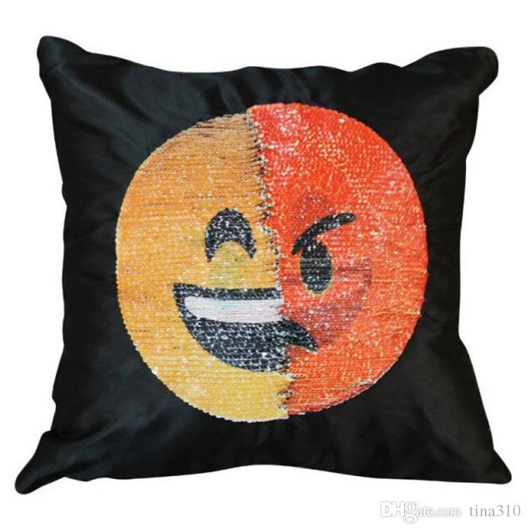 Reversibile paillettes emoji copertura della cassa del cuscino cuscino emoji smiley cuscino doppio paillettes federa T4H0386