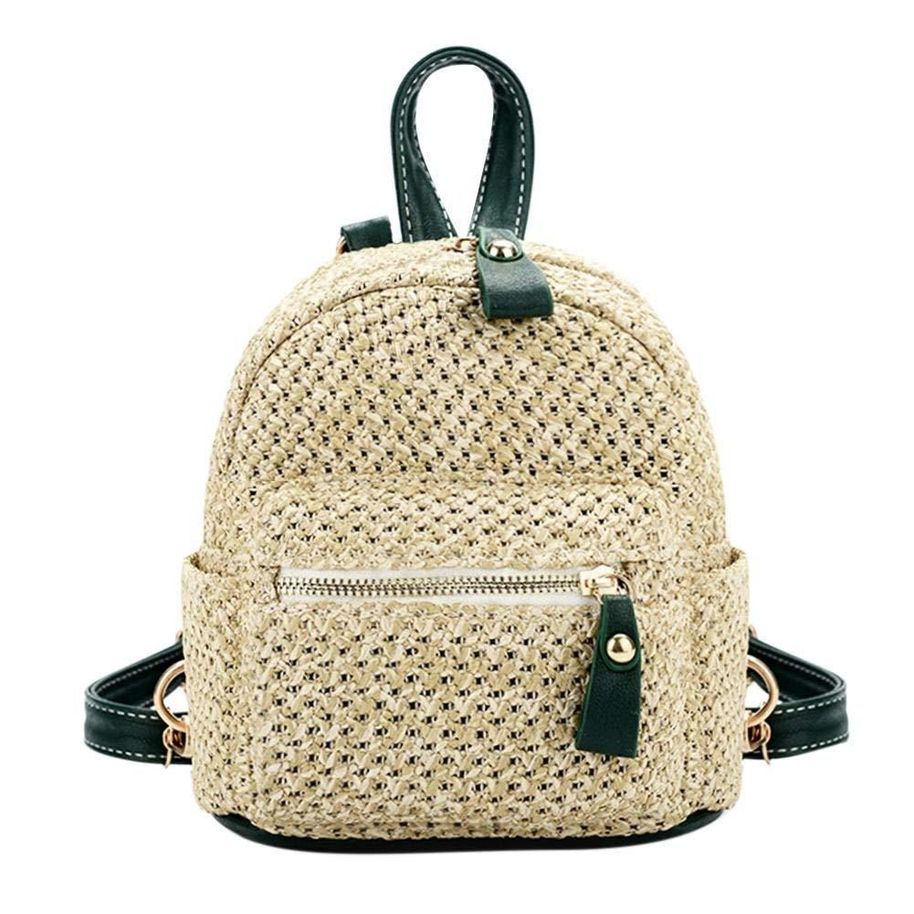 VSEN Straw Backpack Leisure Women Mini Shoulder Bag Weave Hollow Beach Schoolbag  Small Travel Bag for Girl, Green Backpacks Cheap Backpacks VSEN Straw ... ff42b71070