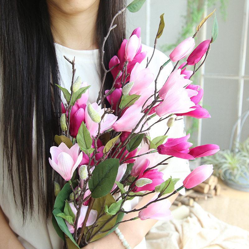 2019 76cm Artificial Silk Magnolia Flowers For Home Decoration