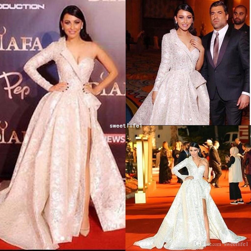 Stunning 2019 One Shoulder Celebrity Dresses Side Split Lace Appliques  Dubai Style A Line Red Carpet Dresses Formal Evening Dresses Celebrity  Dress