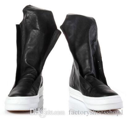 Real Picture Full Real Leather Owen High Street Zip Men Military Boots Rock Fashion Euro Tactical Catwalk Martin Boots