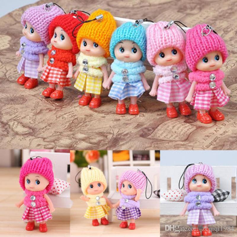 Lindo juguetes de los niños suave interactivo Baby Dolls Toy Key Chain, mini muñeca del llavero para niñas anillo dominante Holder