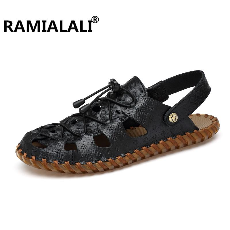 828047b5a Ramialali Men S Sandals 2018 New Fashion Summer Leisure Beach Men Shoes  High Quality Real Leather Sandals Zapatos Jesus Sandals Black Wedges From  Amoyshoes