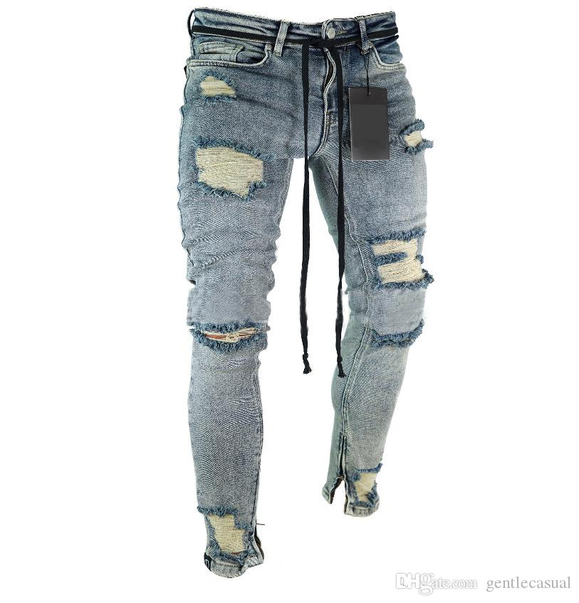 High Street Jeans for Men Cool Wear Clothes Ripped Grey Long Pencil Pants Trousers