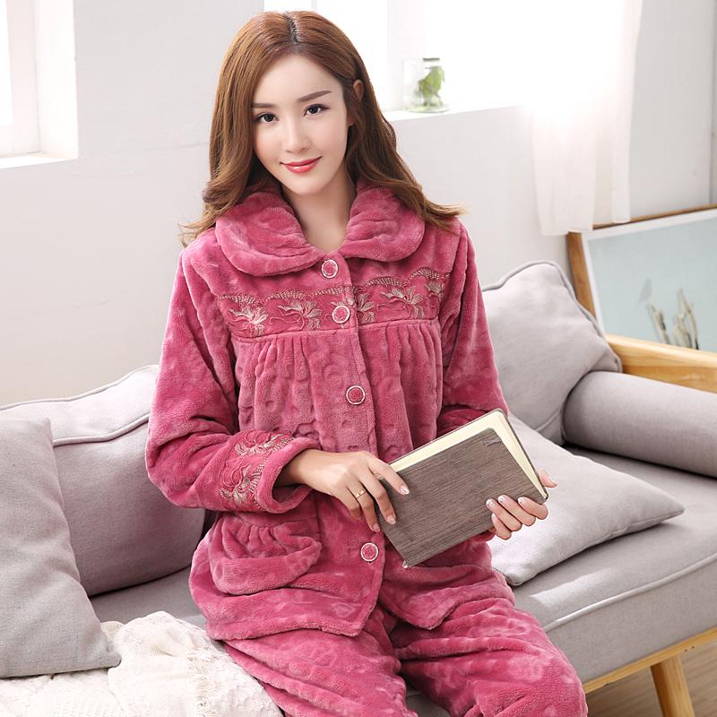 4ee571df94 2019 Women Flannel Pyjamas Home Clothes Plus Size Sleepwear Set Long Sleeve  Pajamas For Women Pijama Sets Cotton Winter Pijamas M 3XL From Roberr