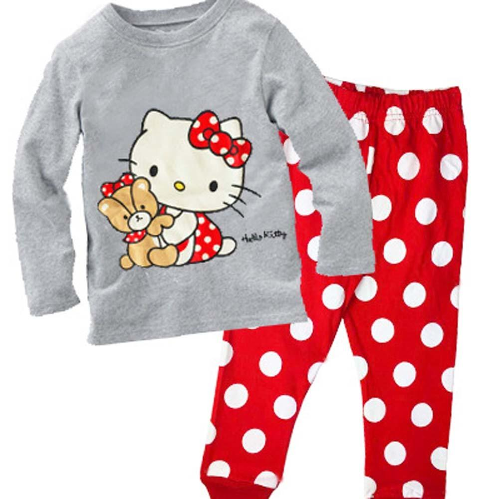 6f39dcdeff Hello Kitty Kids Pajamas Christmas Girls Pajamas Set Autumn Winter Cotton  Long Sleeve Pyjamas Set Pijama Infantil Pyjama Fille Y18102908 Little Girls  Pjs ...