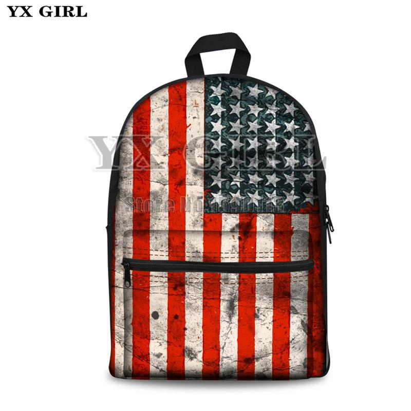b3ab209e8761 Newest Canvas women /men School Bag Fashionable Style Backpack with  American Flag eagle for Students Casual unisex backpack