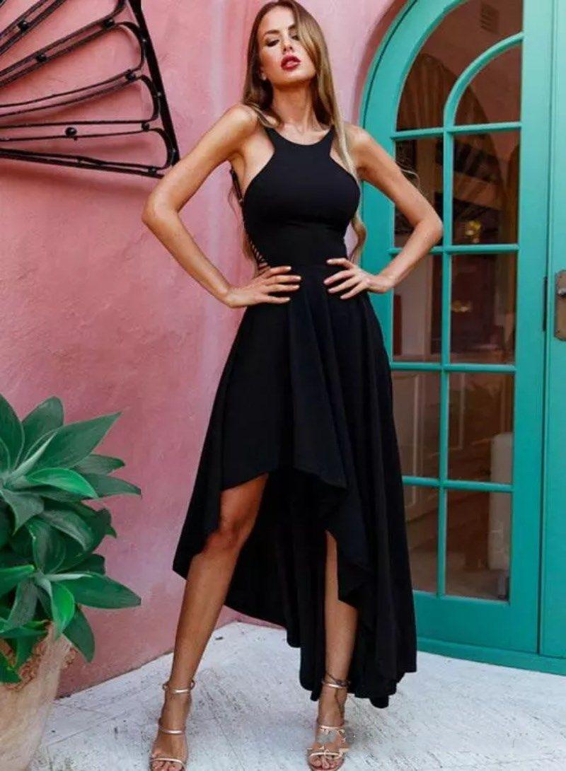 Seksi Klas Siyah Gelinlik Modelleri Özel Yap Yüksek Düşük Halter Basit Büyüleyici Geri Abiye giyim Örgün Giyim