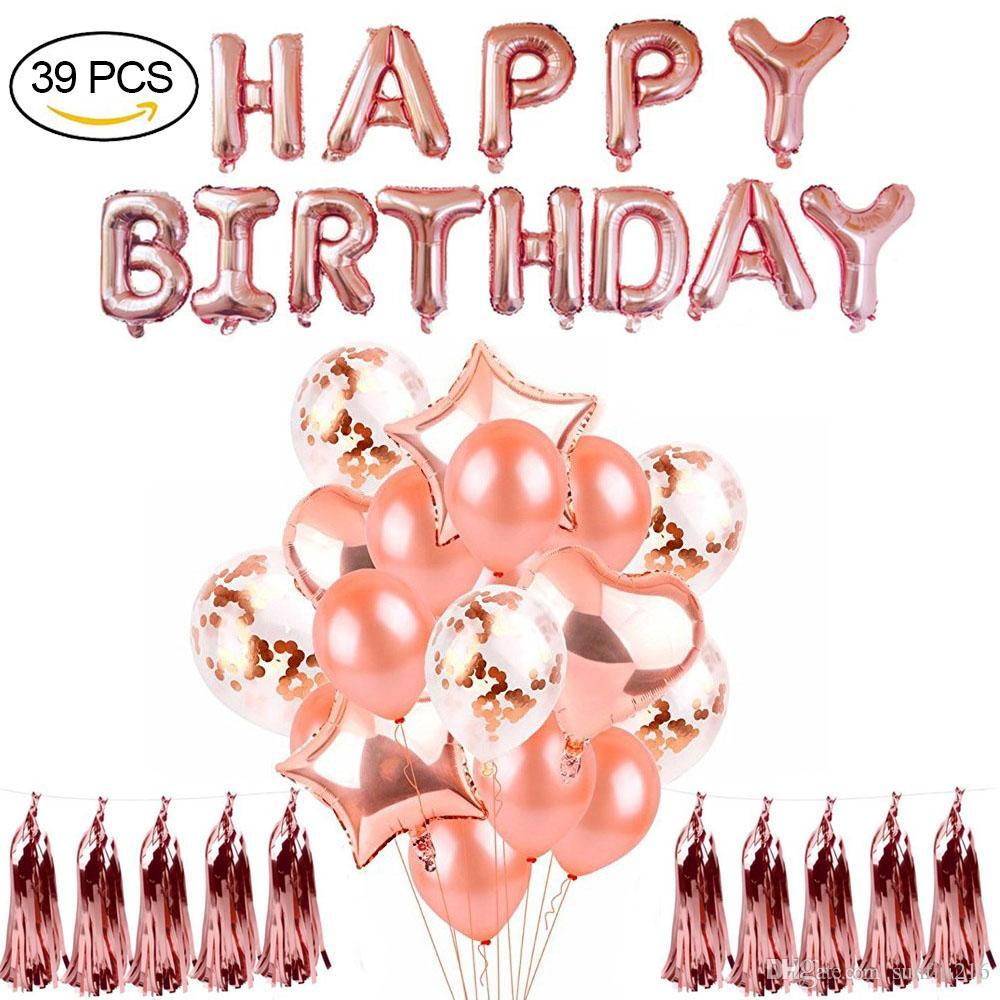 2019 Rose Gold Happy Birthday Balloons Decorations 16 Rose Happy