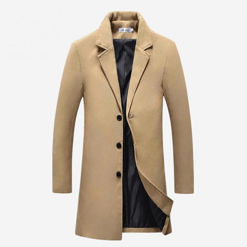 f6082a7235 New Male Warm in Winter Slim Fit Long Business Woolen Cloth Coat ...