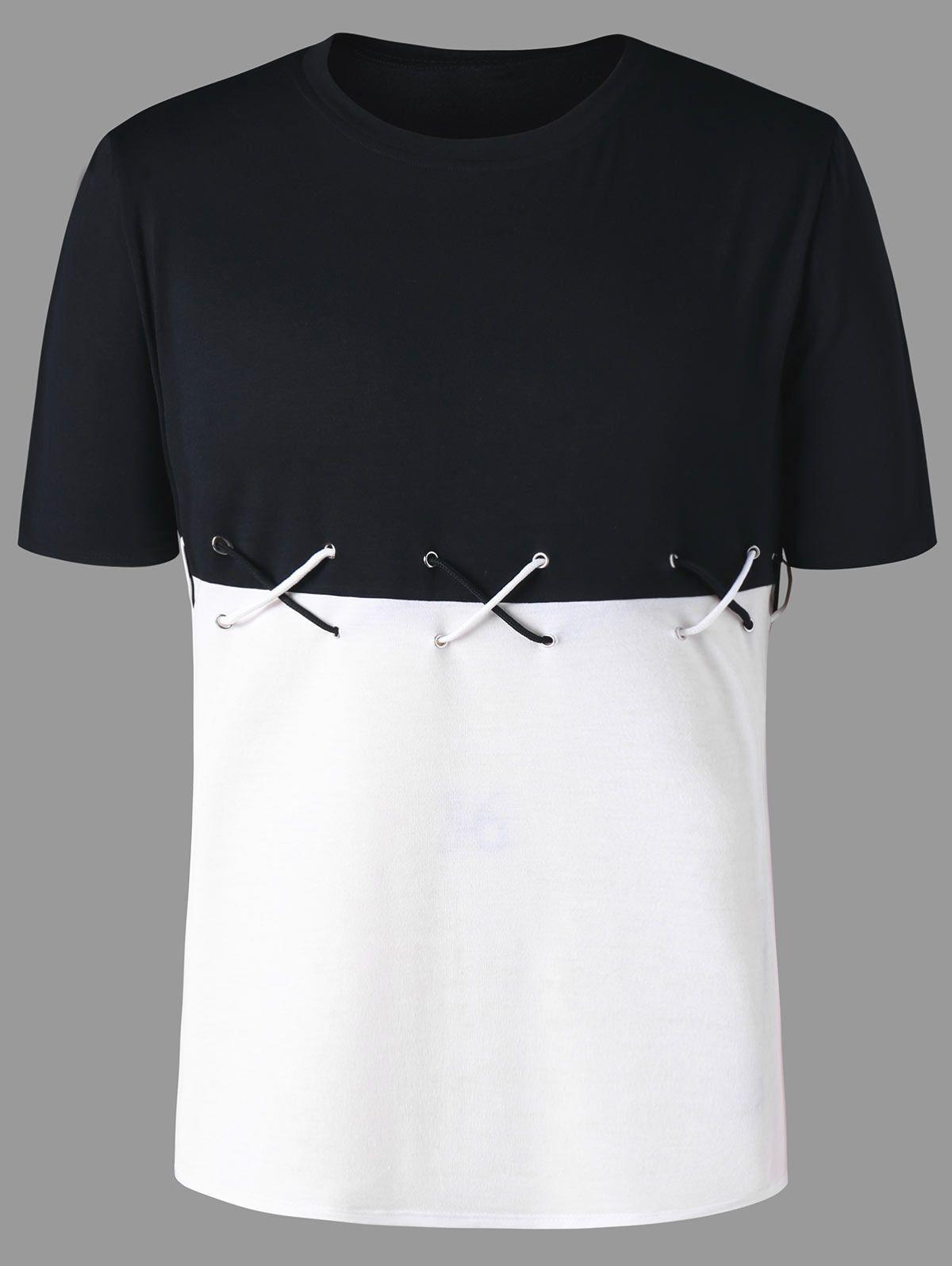 5ff91ac0bf81 2018 Summer New Fashion Color Block Lace Up T Shirt Crew Neck Short Sleeve  Tee Men S T Shirt Casual Tee Shirt Men Clothing M 2XL Funny Tshirts Long  Sleeve ...