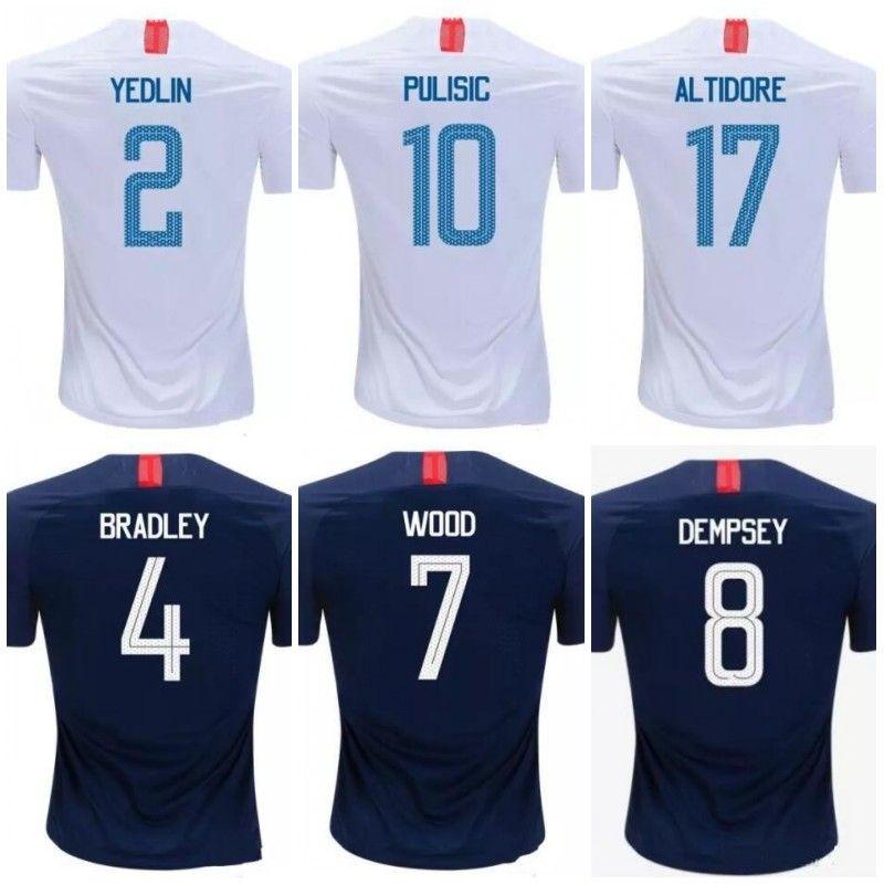 5031e9fc1 PULISIC USA Soccer Jersey 18 19 DEMPSEY BRADLEY WOOD America Football  Jerseys ALTIDORE United States Shirts