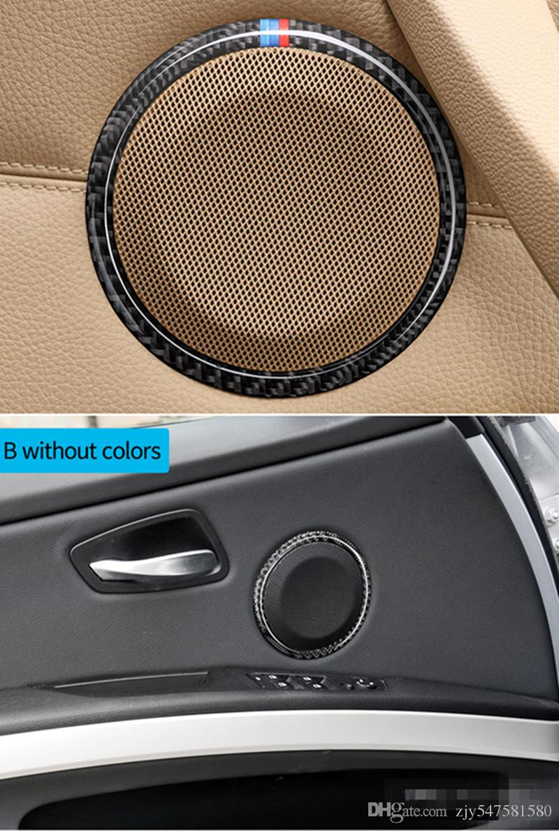 Fiber De Carbone De Voiture porte Haut-Parleur Décoratif Cercle Autocollant Garniture Garniture De Voiture Style Pour BMW E90 320i 325i E84 X1 Accessoires