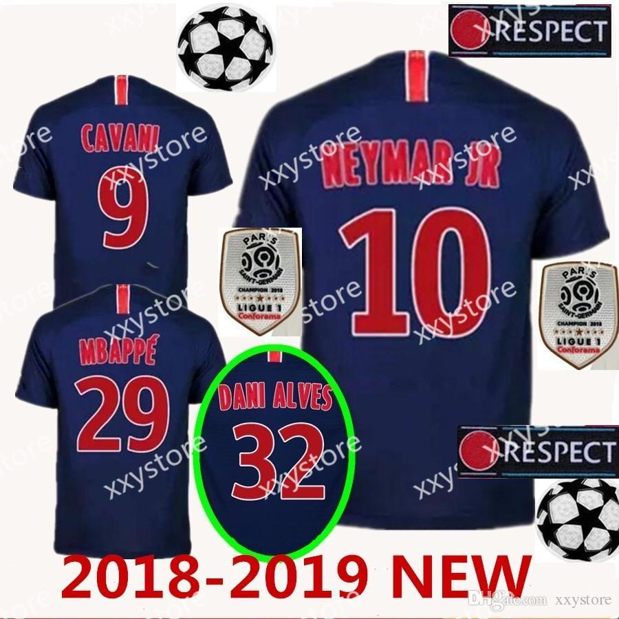 2018 2019 Paris Saint Germain PSG Hombres Mujeres Niño Soccer Jersey 7  Mbappe 6 Verratti 9 Cavani 32 DANI ALVES 10 11 DI MARIA 2 T SILVA Por  Xxystore 786e7cb2ce7ef