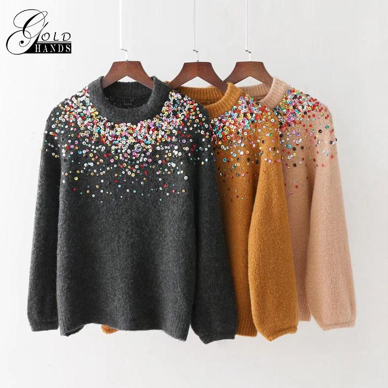 c590e1ac 2019 Autumn And Winter Ladies Solid Color Small Fleece Sequined ...