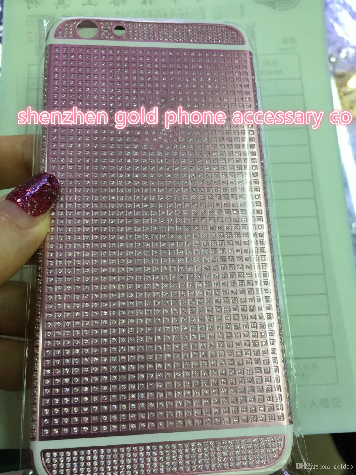 2018 real pink 24K Gold FULL DIAMOND crystal Plating Battery Back Housing Cover Skin for iPhone 6 4.7 24kt 24ct Limited Edition Gold cases