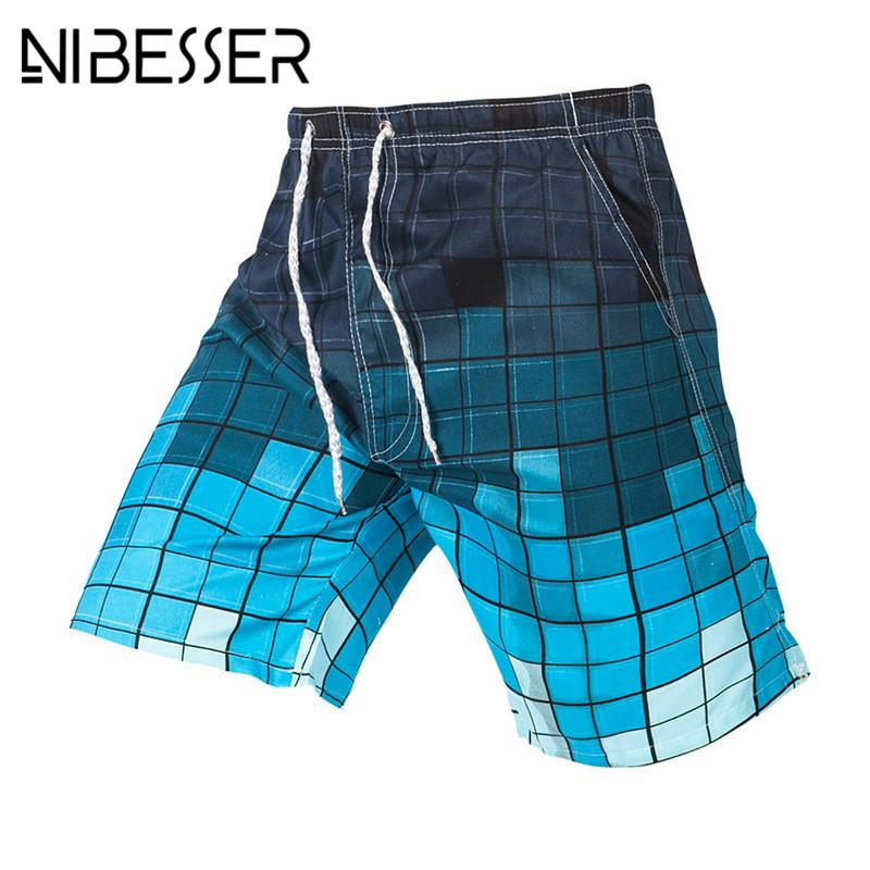 df9ce8e96cdd NIBESSER Summer Hot Sale Men  Beach Shorts Quick Dry Plaid Print ...