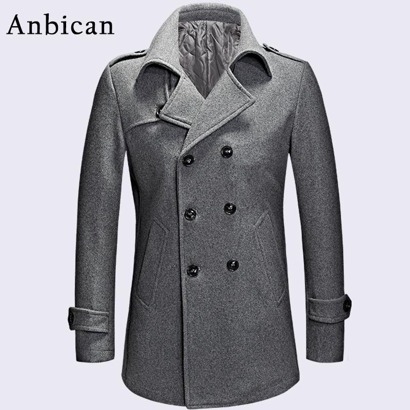 6834d30101e 2019 Anbican Fashion Gray Men Winter Coat Wool Blend Double Breasted Long  Coat Oversize Classic Mens Pea Plus Size M XXXL From Octavi