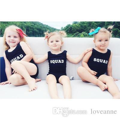 Sexy familia Bilkini SQUAD Impresión de letras Traje de baño de una pieza Push Up Bikini Gilrs Ropa de playa Ropa para madre e hija