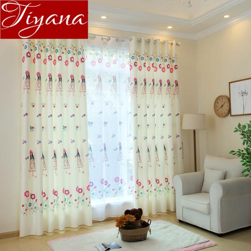2019 Little Girls Curtain Print Voile Kid Room Bedroom Window Modern ...