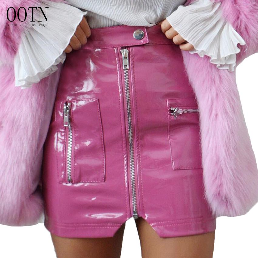 f427d45bb8a9d5 2019 OOTN PU Leather Pencil Skirts Women Summer Pink Mini Skirts Female  2018 Fashion Sexy Party Skirt Wear Short Buon Front Zipper From Baiqian, ...