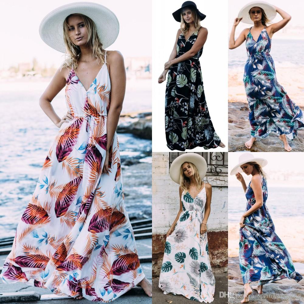 0181804237 Womens Holiday Sleeveless Ladies Maxi Long Summer Print Beach Dress  Swimwear for women Bohemian Maxi Rompers Summer Dresses FS3436