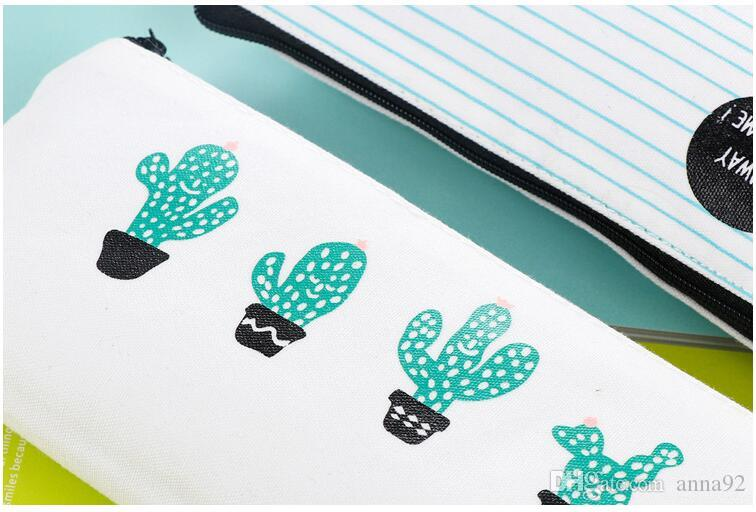 Cactus Pencil Case Canvas School Supplies Kawaii Stationery Estuches Chancery School Cute cat Totoro Pencil Box Pen Bags Penalty free ship