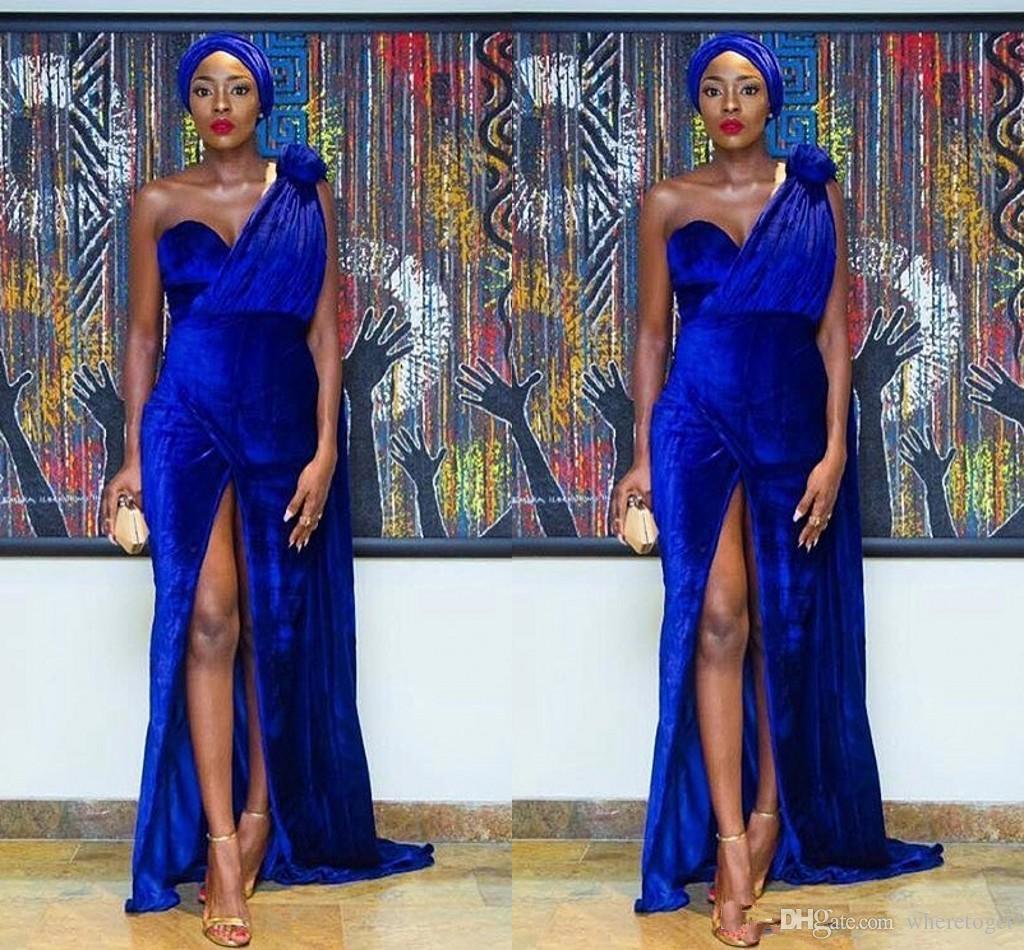 Royal Blue 2019 Elegancki Jeden Ramię Velvet Mermaid Nigeria Suknie wieczorowe Sexy Handmade Front Front Split Arabski Formalna sukienka Prom Custom
