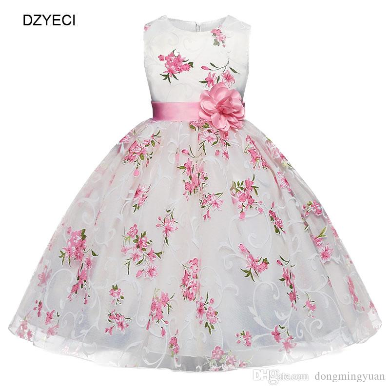 Summer Baby Girl Floral Dresses Carnaval Costume For Kid Prom Wedding Frock Children Flower Lace Bow Pageant Princess Dress Clothes