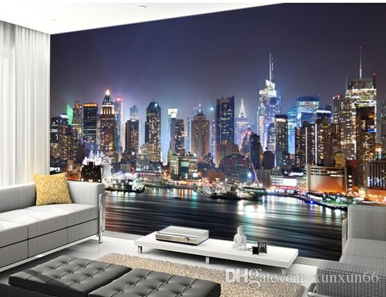 Custom Photo Wallpaper,New York,Manhattan Skyline At Night