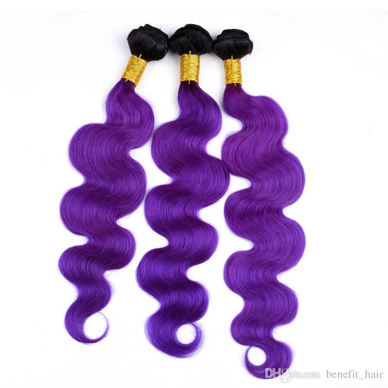 Ombre Renk # 1B Mor Saç Atkı Uzatma Dantel Kapatma Ile 4x4 Vücut Dalga İnsan Kapatma Ile 3 Demetleri