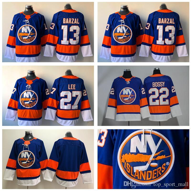 low priced d4765 8b702 New York Islanders Jersey 13 Mathew Barzal Jerseys Hockey 22 Mike Bossy 27  Anders Lee 2 Nick Leddy 55 Johnny Boychuk Blue For Men Stitched