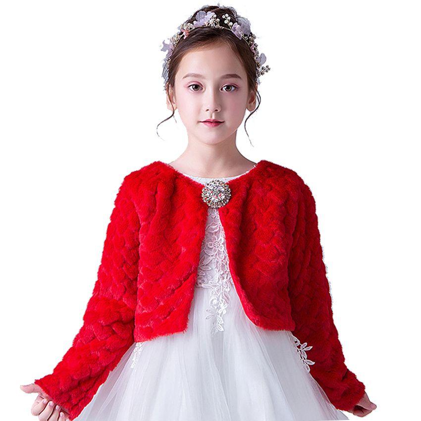 9b8ec090673f Children Clothing Winter Wedding Faux Fur Bolero Baby Girls Soft ...
