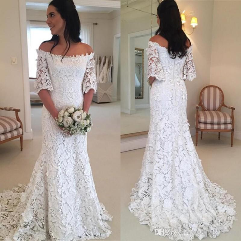 e9d11ae32045 2019 Romantic Lace Country Style Wedding Dresses Off The Shoulder Illusion  Half Sleeves Boho Mermaid Bridal Gowns Bohemian Sweep Train Red Mermaid  Wedding ...