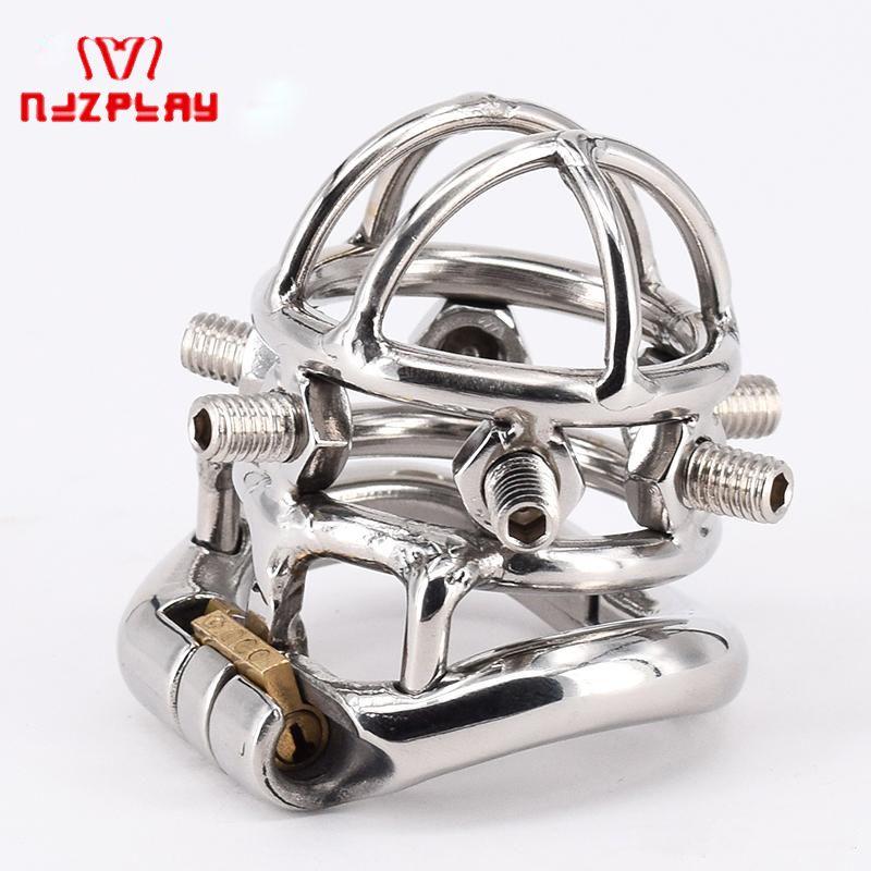 Chastity Devices Male Chastity Spikes Acero inoxidable Cock Jaula Pene Locking para hombres Bondage Pene Ring con 6 tornillos 0.3kg