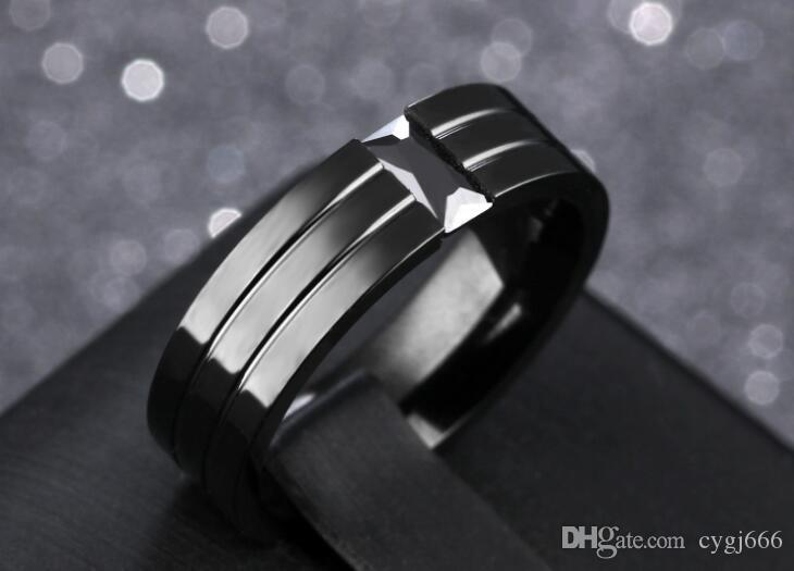 Europe and the United States black titanium steel engraved clips inlaid black zircon ring fashion personality personality men's ring