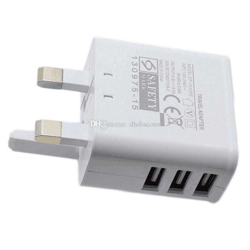 Color blanco 3 pines Reino Unido GB 3 puertos usb 3A Ac adaptador de cargador de pared de viaje para el iPhone 6 7 más Samsung