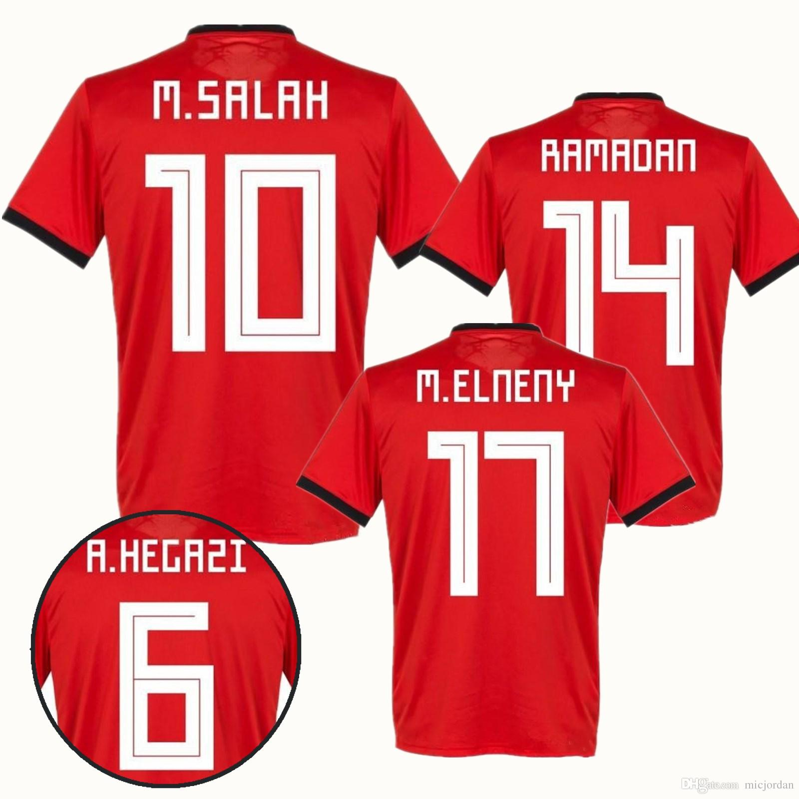 0611387883b 2018 World Cup Egypt Soccer Jerseys 2018 2019 Home RED M.SALAH ...