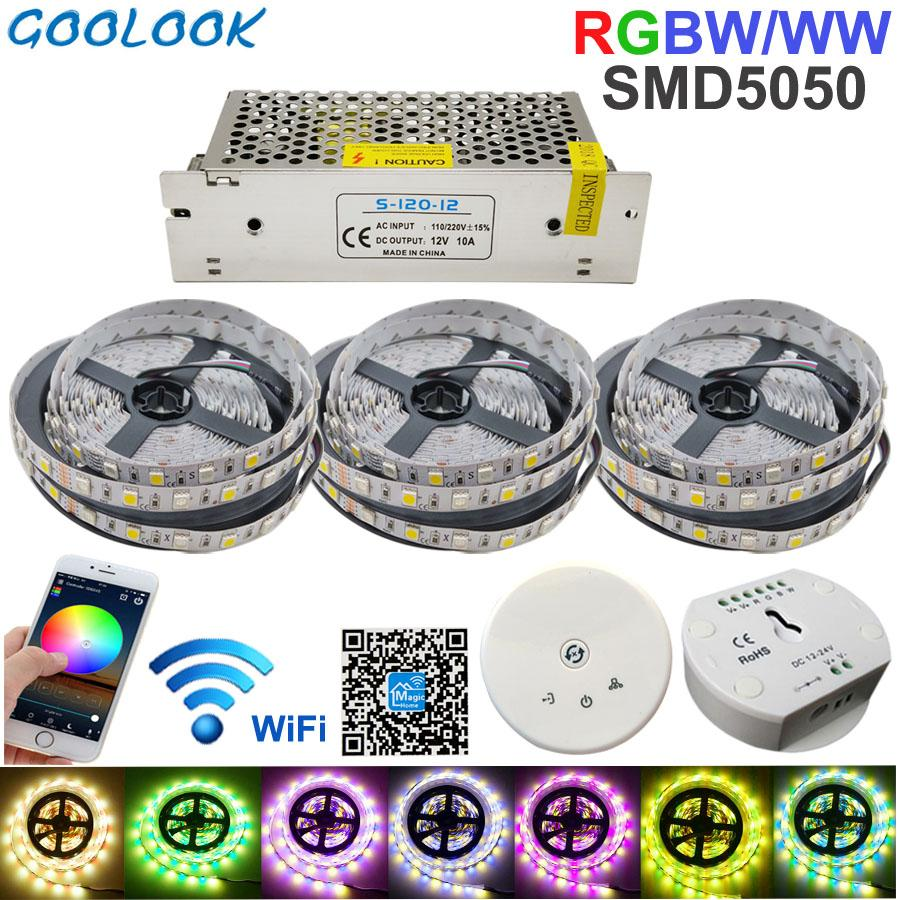 RGBW LED Strip light 15M LED lighting RGB Warm IP20 / IP65 waterproof SMD  5050 LED Tape Ribbon+DC 12V Power + UFO WiFi Control