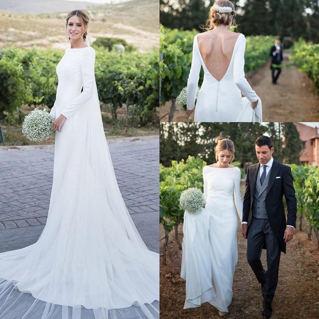 6123bbe3a2c 2019 Simple Plain Long Sleeve Wedding Dresses Bateau Backless Sweep Train  Country Garden Chapel Muslim Bridal Gowns Vestido De Novia Ivory Long Sleeve  ...
