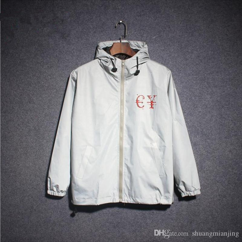 Yeni 2018 Yaz Ceketler Erkekler Hip Hop 3 m Yansıtıcı Ceket ErkeklerKadın Moda Reflektifler Rüzgarlık Kapüşonlu Ceket S-XXL