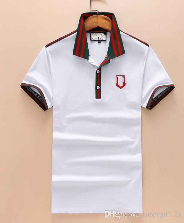 7d9f02bca370 Großhandel Europa Und Amerika Neue Männer T Shirt Revers Kurzarm Baumwolle  Farbe Bars Splice Stickerei Mode Herren T Shirt Von Happygirl123,  22.12  Auf De.