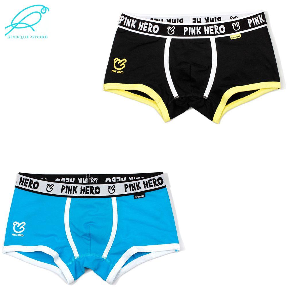2ef03cf6594e61 [2 pçs / lote] marca rosa heróis de algodão dos homens underwear clássico  preto calcinha cuecas cuecas sexo masculino shorts homem boxers cueca ...