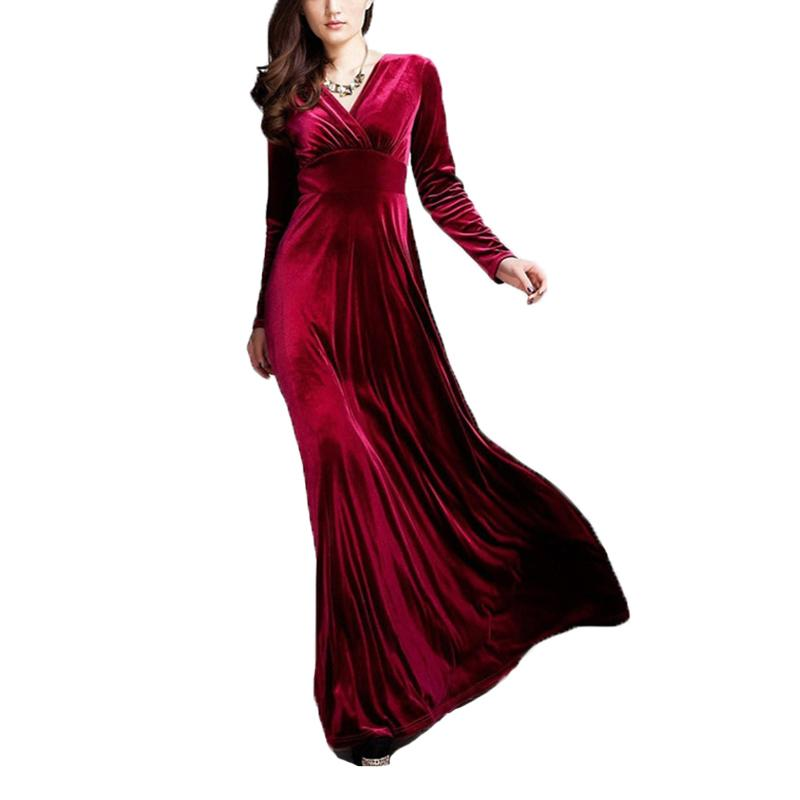 Autumn Winter Fashion Dress Velvet Party Dresses Vestido Women Elegant  Temperament Long Sleeve V-neck Ball Gown Dress Online with  46.02 Piece on  ... 1ed11866e978