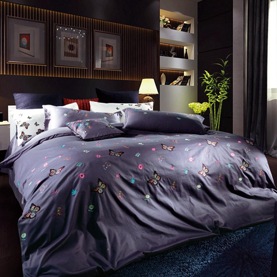 Butterfly Bedding Set Queen King Size 100% Cotton Soft Bed Sheet Duvet  Cover Pillowcases Kids Bed Linen Embroidered High Quality King Duvet Set  White ...