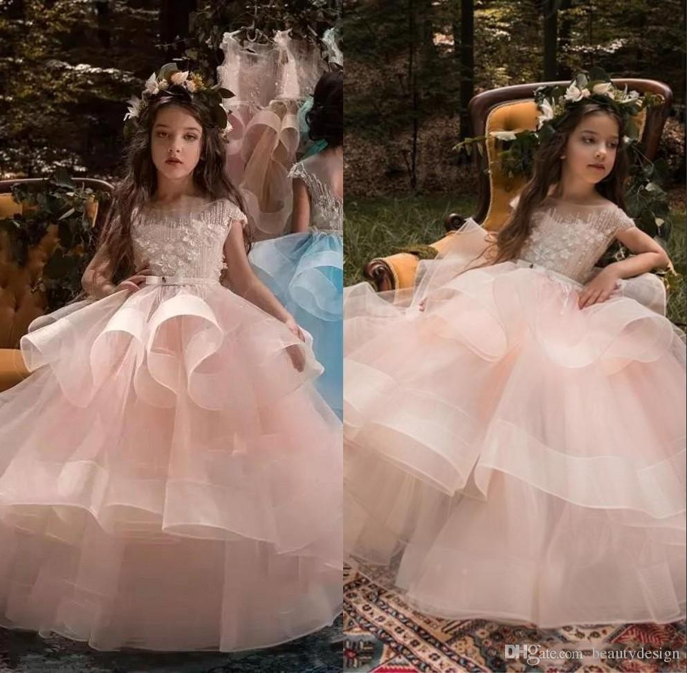 3485ac1aff2 New Designer Ball Gown Flower Girl Dresses Jewel Floor Length Tiered Kids Formal  Dresses With Lace Applique For Wedding Party Pageant Gowns Flower Dress ...
