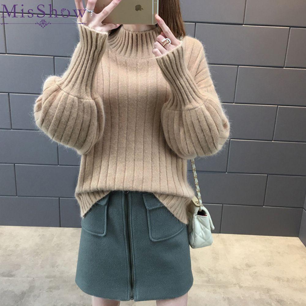 061607f2a87 2019 Turtleneck Women 2018 Autumn Winter Warm Knitted Sweater Women  Pullovers Ribbed Sweater Jumper Knit Sweater Female Pull Femme S18100803  From Jinmei03