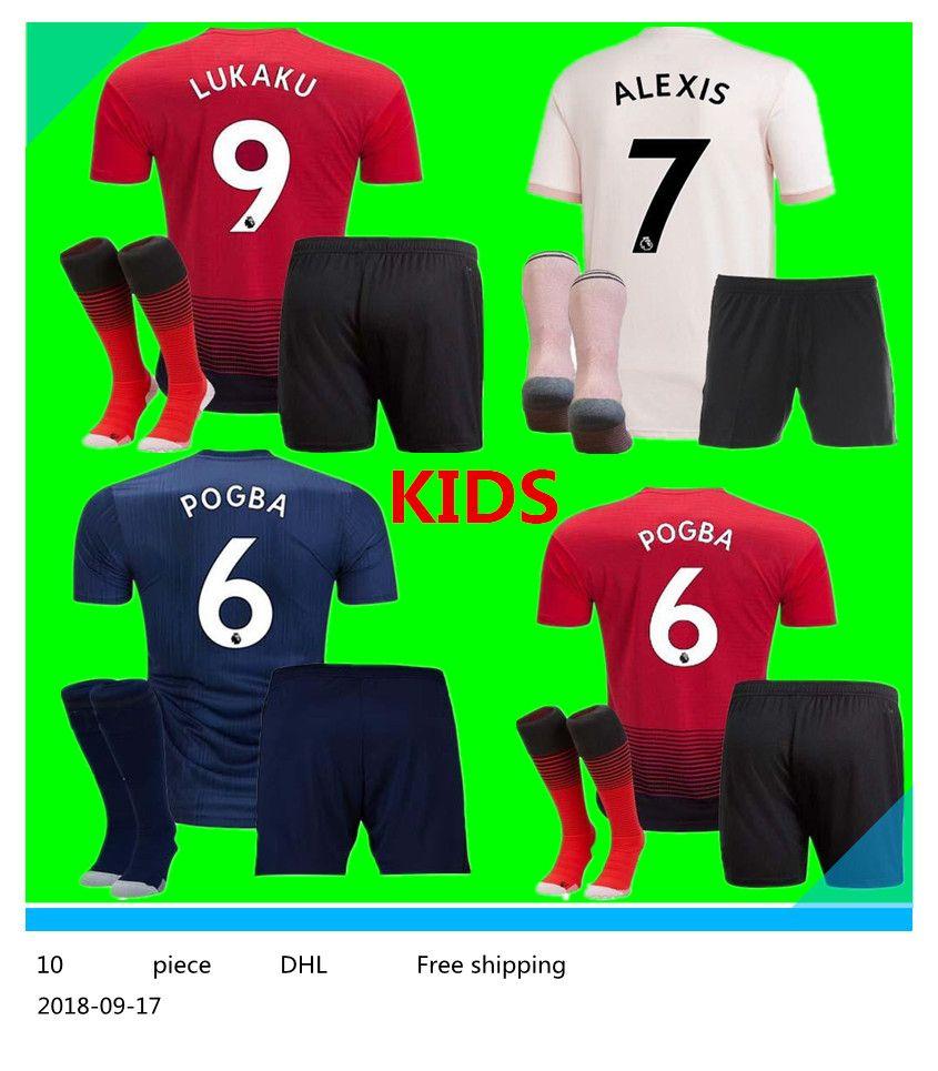 172b2d63f Manchester United Kids Kits 18 19 LUKAKU ALEXIS POGBA Soccer Jersey ...