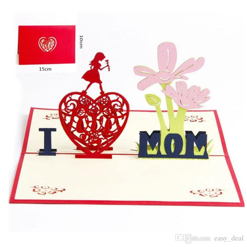 3D Pop Up Greeting Cards Mother Day I LOVE MOM Card High Quality Beautiful Gift Birthday ZA6237 Online