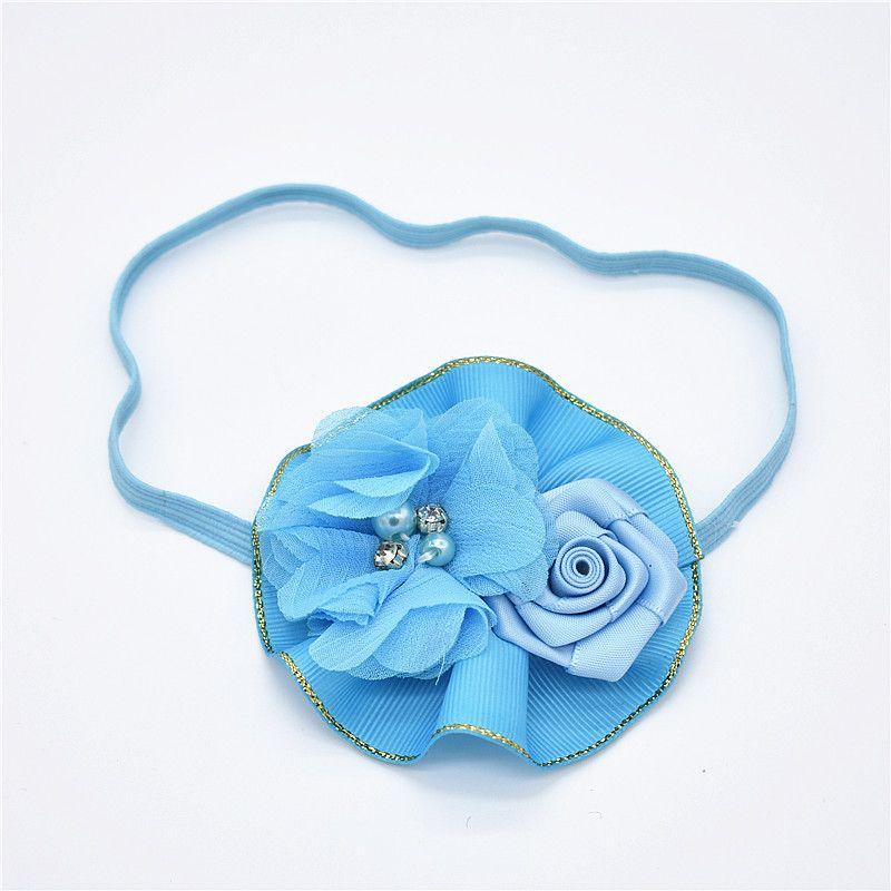 bela flor de cabelo fita arco Jin Bianhua rosas Chiffon flor quebrada Faixa de cabelo das crianças HD016